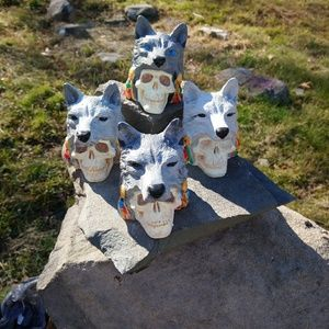 Set of 4 Wolf spirit and skull collectable